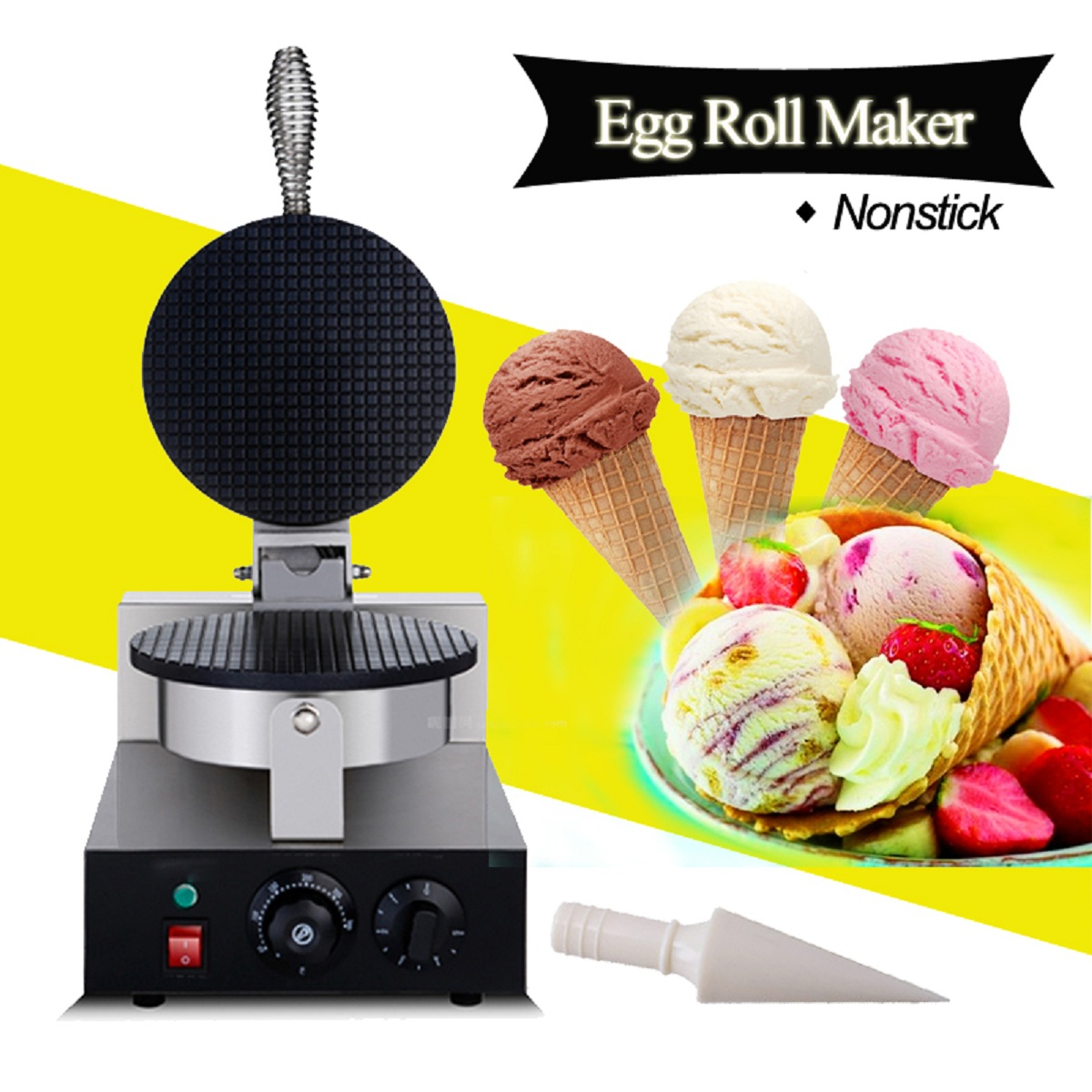 AC 110V/220V Electric Machine Waffle Cone Maker Baker Commercial Nonstick Regular Ice Cream Maker For Cooking Baking