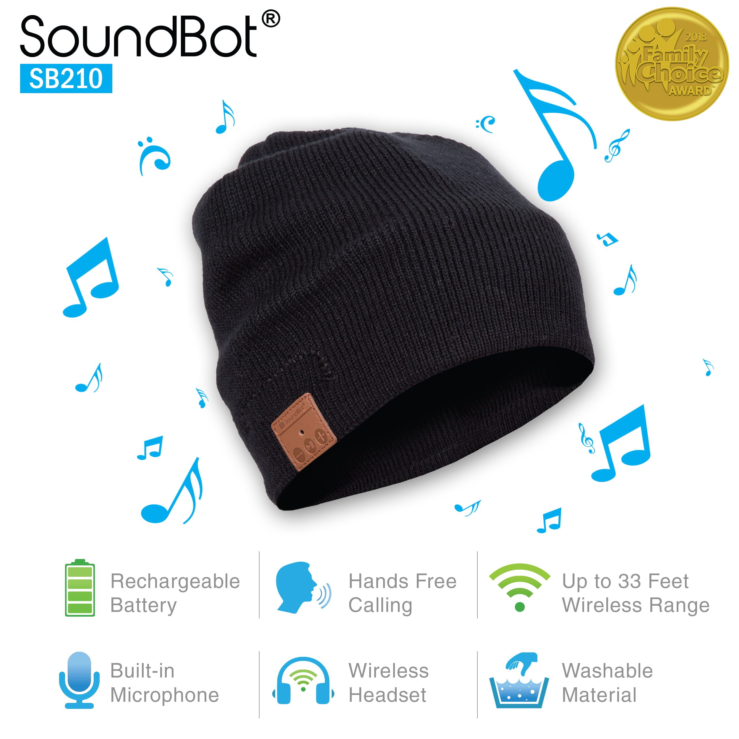 87f297311e3 SoundBot SB210 HD Stereo Bluetooth 4.1 Wireless Smart Beanie Musical Knit  Headset with Hands-Free Talking