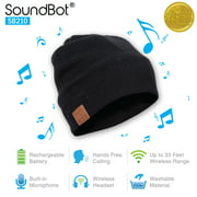 SoundBot SB210 HD Stereo Bluetooth 4.1 Wireless Smart Beanie Musical Knit Headset with Hands-Free Talking, Black