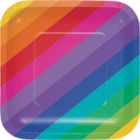 """Club Pack of 96 Rainbow Square Disposable Paper Lunch Plates 7"""""""