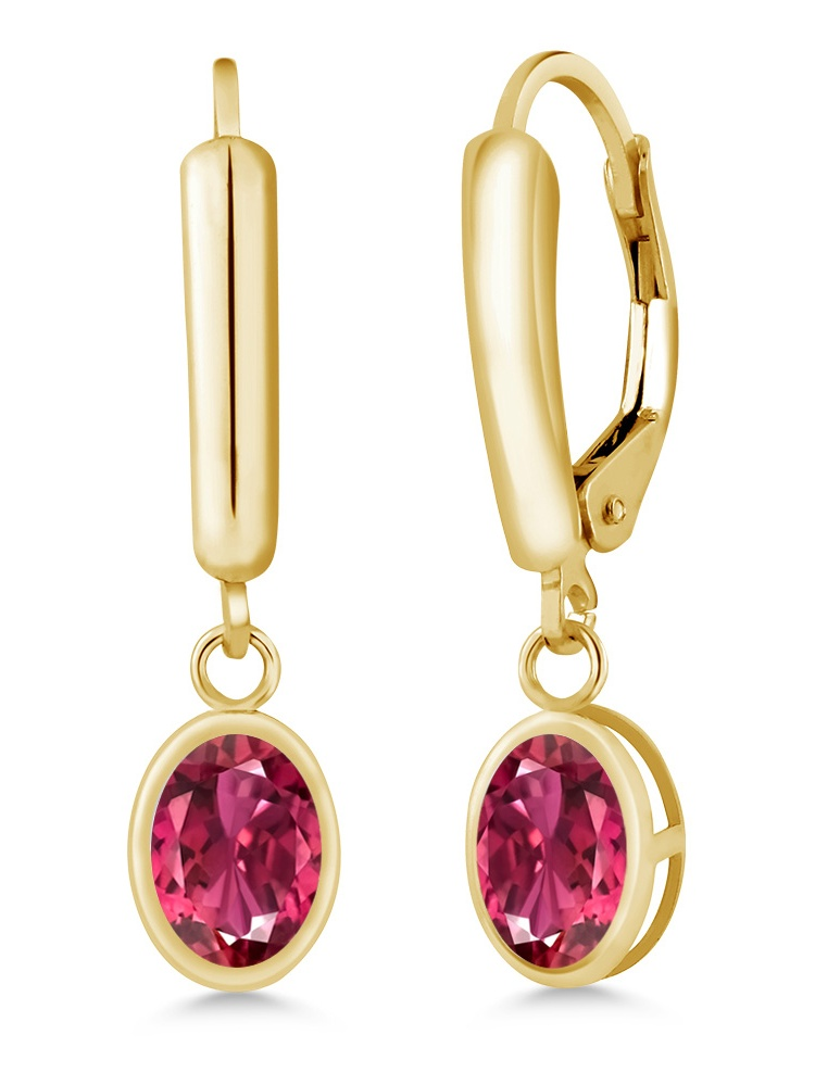 1.70 Ct Oval Pink Tourmaline 14K Yellow Gold Women's Earrings by