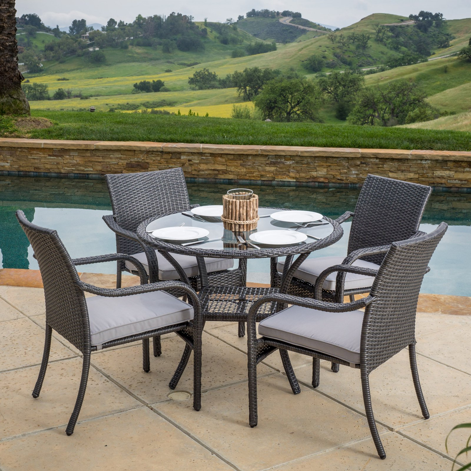 Best Selling Home Lakeside 5 Piece Wicker Patio Dining Set