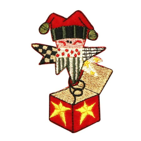 ID 8079 Festive Jack In The Box Patch Christmas Toy Embroidered Iron On -