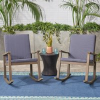 Outdoor Acacia Wood Rocking Chair with Cushion, Grey