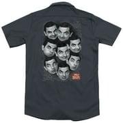 Mr Bean Heads (Back Print) Mens Work Shirt