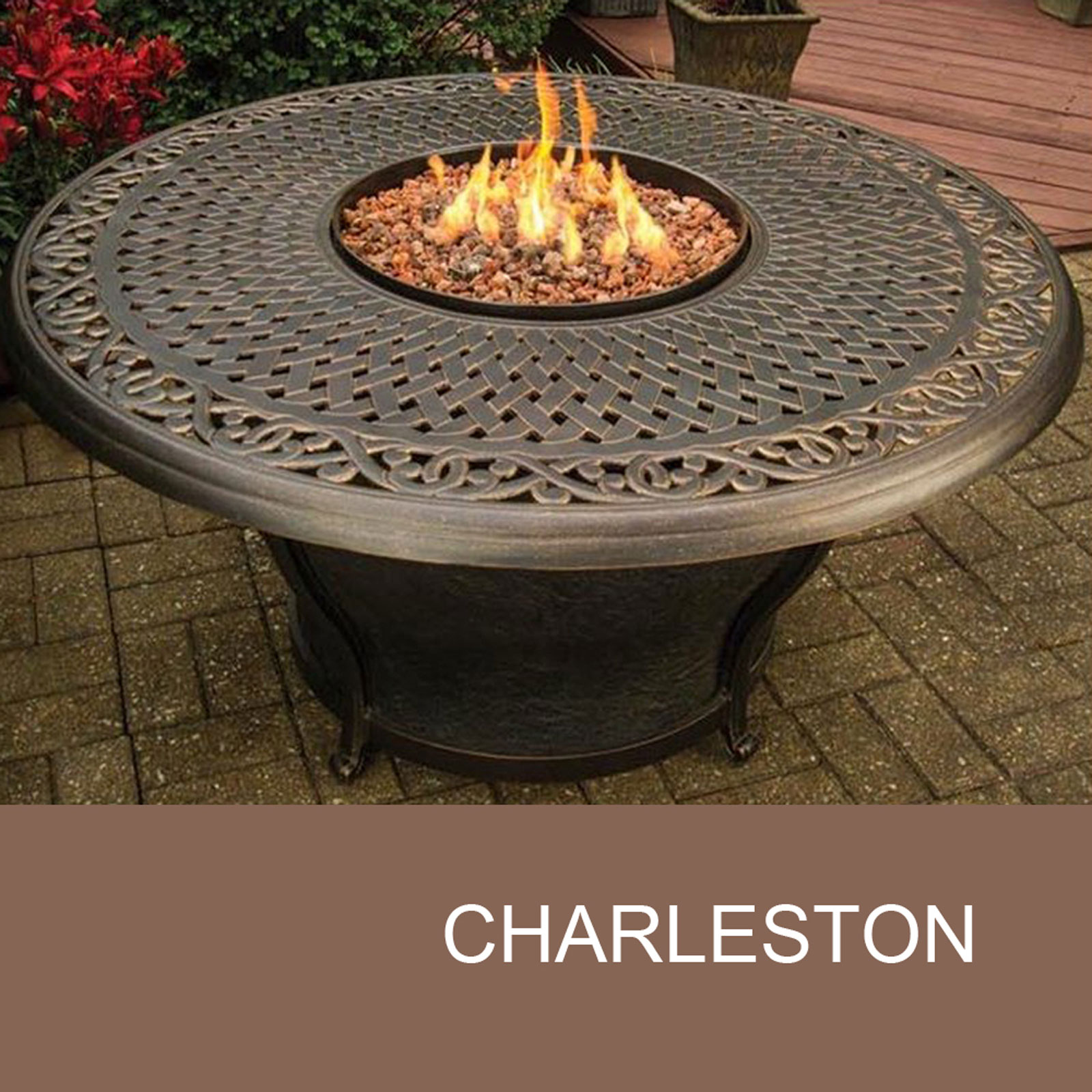 Delicieux Agio Charleston   48 Inch Round Cast Top Gas Fire Pit Table   Walmart.com