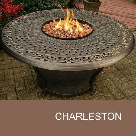 Agio Charleston - 48 Inch Round Cast Top Gas Fire Pit Table - Agio Charleston - 48 Inch Round Cast Top Gas Fire Pit Table
