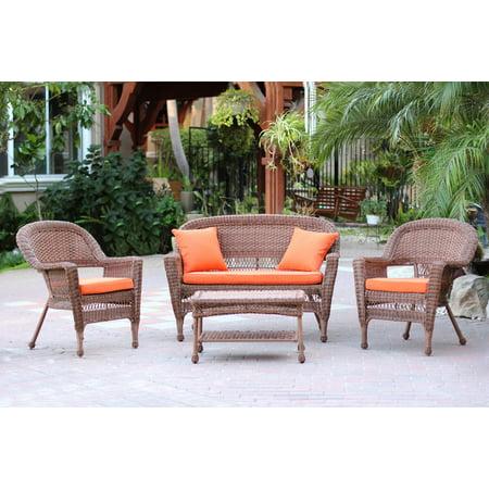 4 Piece Honey Wicker Patio Chairs Loveseat Table Furniture Set Orange Cushions