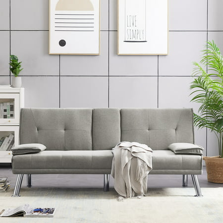 Futon Sofa Bed, Modern Fabric Sofa Sleeper Bed with Armrest, SEGMART Convertible Futon Sofa Bed Recliner Couch w/Metal Legs and 2 Cup Holders for Small Spaces Living Room Bedroom, Light Grey, L5725