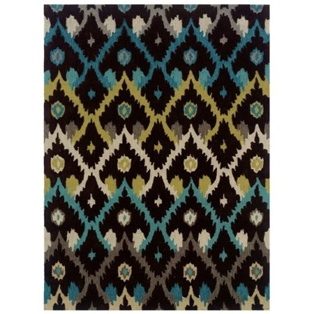 - Linon Trio 5' x 7' Hand Tufted Rug in Black and Teal