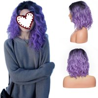 """S-noilite Hair Lace Front Wigs Glueless Natural Wave Synthetic Heat Resistant Fiber Cosplay Hair Wig With Baby HairLong Wigs Pink Gray For Women Black Brown to Purple,14""""-188g"""