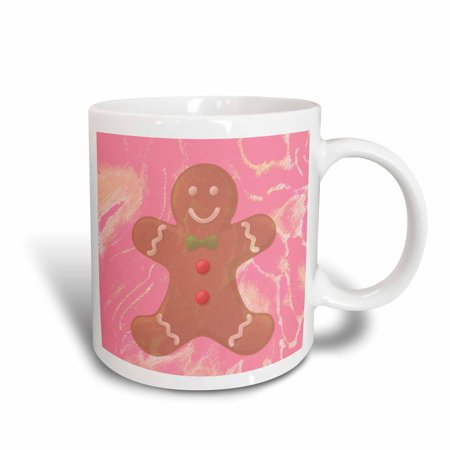 3dRose Abstract Pink Gingerbread Man Cookie- Art, Ceramic Mug, 11-ounce