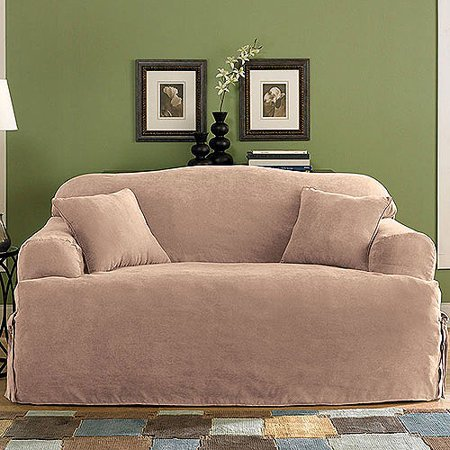 Sure Fit Soft Suede T-Cushion Sofa Slipcover - Sure Fit Soft Suede T-Cushion Sofa Slipcover - Walmart.com