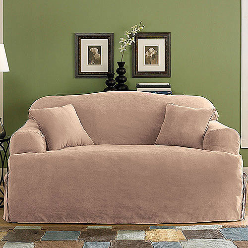 Sure Fit Soft Suede T-Cushion Sofa Slipcover