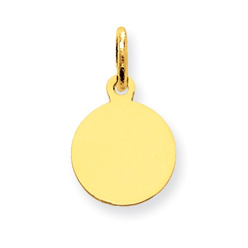 10k Yellow Gold Plain 0.013 Gauge Circular Engravable Disc Charm (0.6in long x 0.4in wide)
