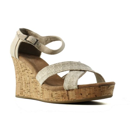 TOMS Womens Cork Wedge Natural Woven Ankle Strap Sandals Size 12 - Toms Ivory Wedges