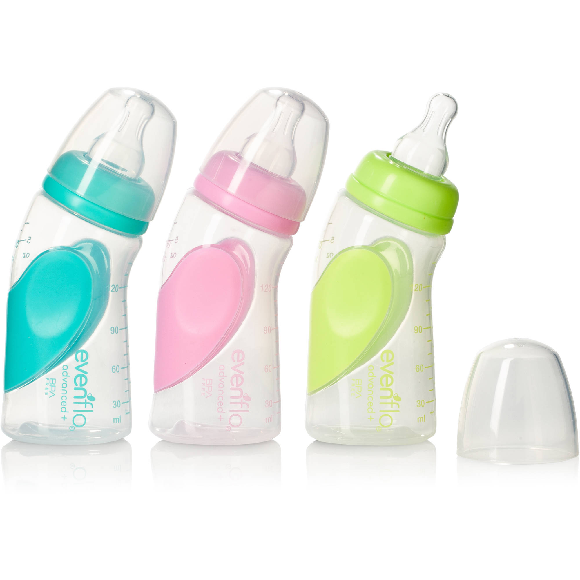 Evenflo Advanced Plus Angled & Vented Bottles, 6 oz, 3 count