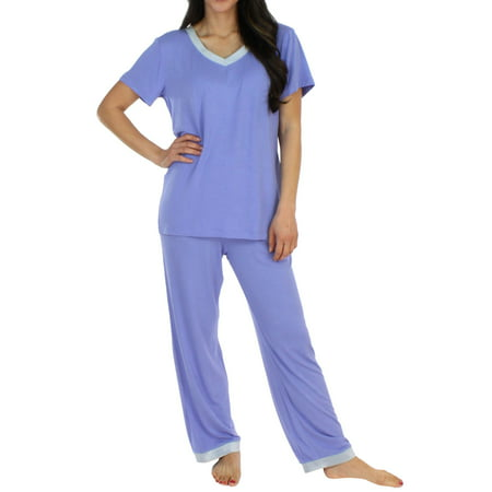 Pajama Heaven Women's Sleepwear Bamboo Jersey V-Neck Top and Pants Pajama Set With Satin Trim - Kmart Sleepwear Australia