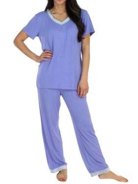 dd881edc9f19 Product Image Pajama Heaven Women s Sleepwear Bamboo Jersey V-Neck Top and  Pants Pajama Set With Satin