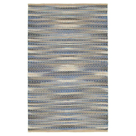 Natural Fiber Blue 9 ft. x 12 ft. Hand Woven / Hand Loomed with Jute & chenille in India Modern Contemporary Geometric Distressed Ikat Coastal Collegiate Antique Diamond Striped Indoor Area Rug