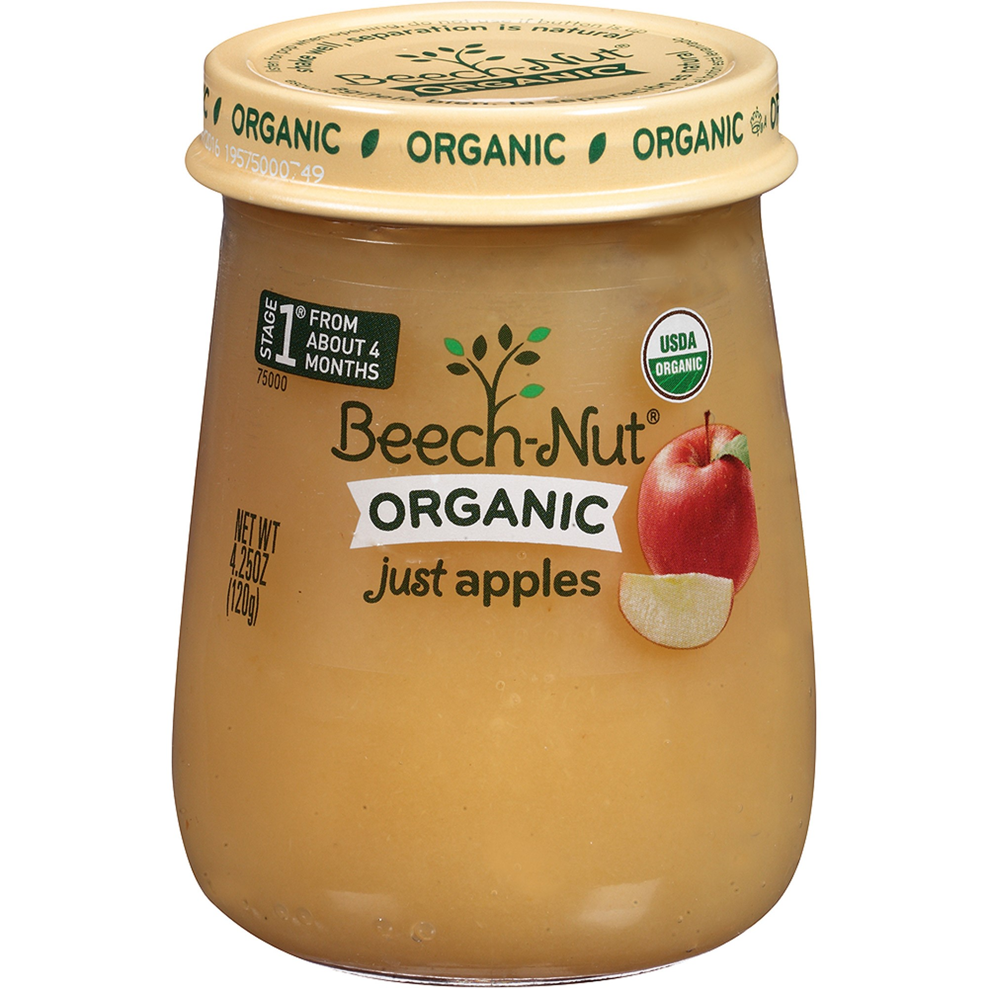 Beech-Nut Organic Stage 1 Just Apples Baby Food, 4.25 oz, (Pack of 10)