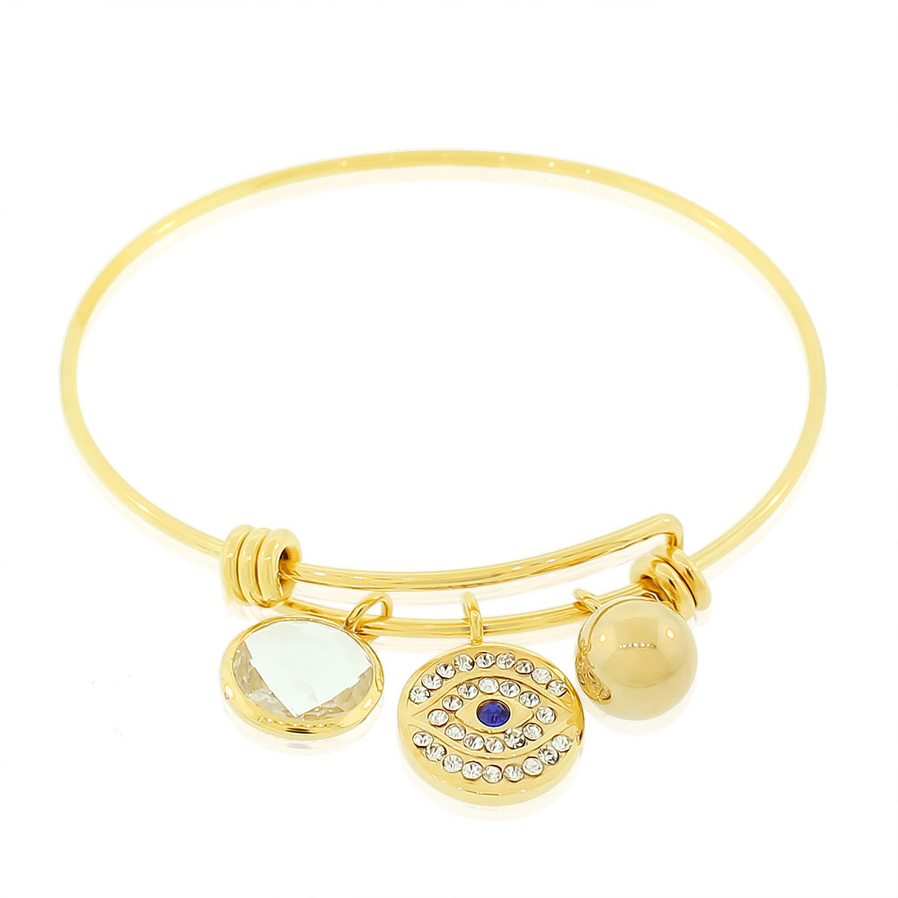 Stainless Steel Yellow Gold-Tone White Blue CZ Protection Evil Eye Bangle Bracelet