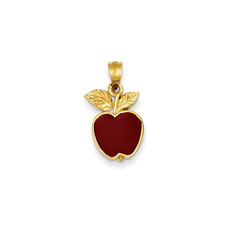 14k Yellow Gold Polished Red Enameled Apple (Yellow Gold Enameled Apple)