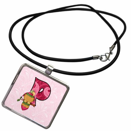 3dRose P is for Parrot in Pink for Girls Baby and Kids Monogram P in Paisley Prints - Necklace with Pendant (ncl_62872_1)