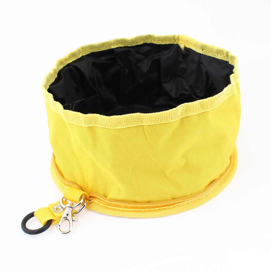 Unique Bargains Travel Foldable Portable Yellow Black Zippered Pet Dog Cat Food Bowl