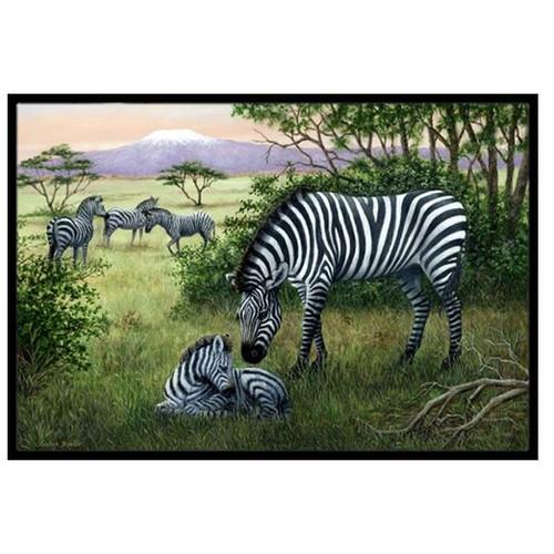 Zebras in the Field with Baby Doormat by Caroline's Treasures