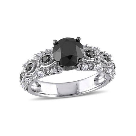 Miabella 2 Carat T.W. Black and White Diamond 10kt White Gold Vintage Filigree Engagement Ring
