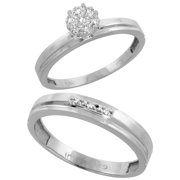 10k White Gold Diamond Engagement Rings Set for Men and Women 2-Piece 0.08 cttw Brilliant Cut, 3mm