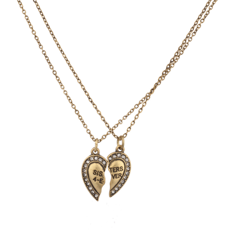 Lux Accessories Sisters 4 Ever Broken Pave Heart BFF Best Friends Forever Necklace Set (2 PC)](Friends Forever Heart)