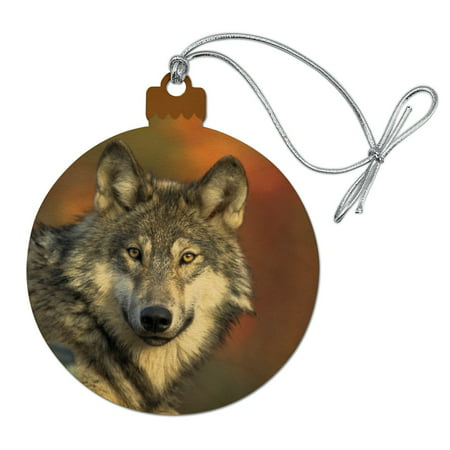Gray Wolf with Fall Background Wood Christmas Tree Holiday Ornament](Fall Tree)