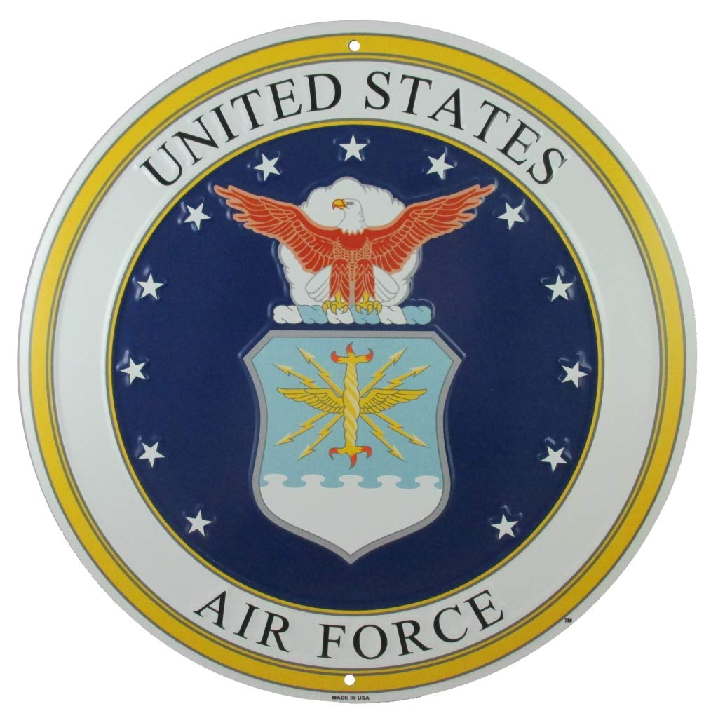 """United States Air Force USAF Airman Crossing Xing 12/"""" Metal Sign Embossed Decor"""