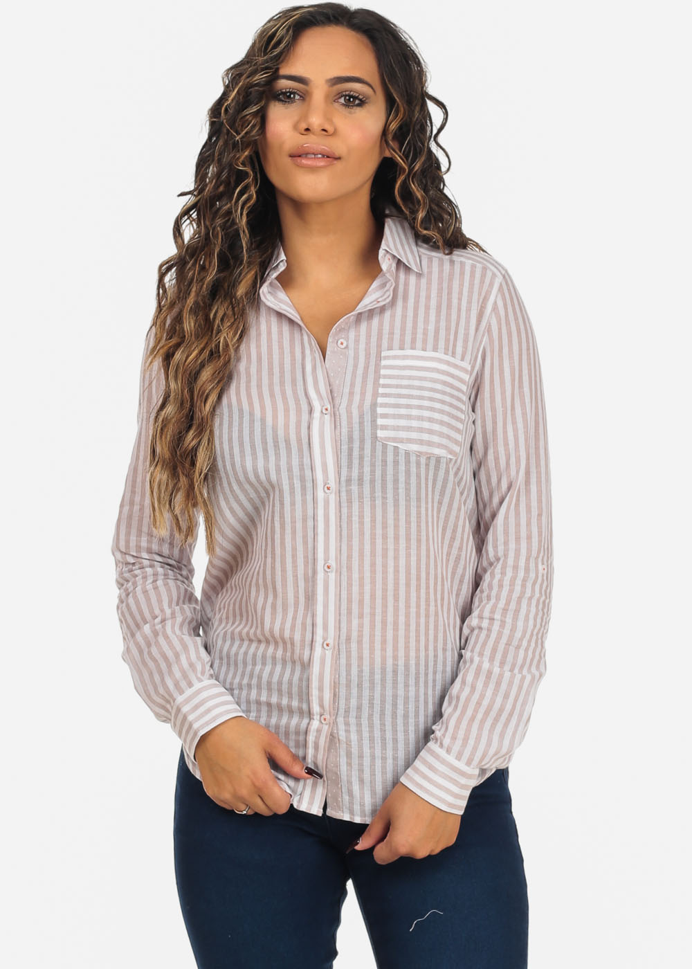 1596c7a21 Womens Juniors White and Khaki Striped Long Sleeve Button Up Blouse ...