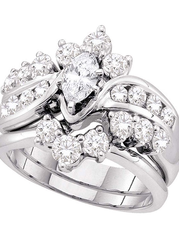 14kt White Gold Womens Marquise Diamond Bridal Wedding Engagement Ring Band Set 2.00 Cttw by GND