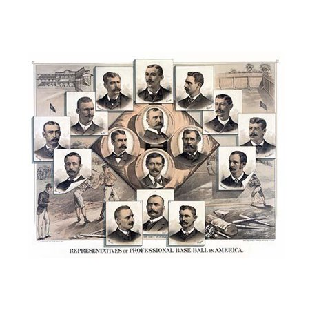 Portraits of Baseball Team Owners pictured over a diamond player scenes and ballparks Poster Print by Root &