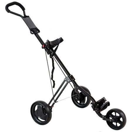 Costway Lightweight Foldable 3 Wheel Steel Golf Pull Push Cart Trolley Club Scoreboard