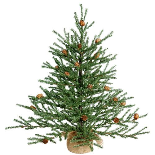 2' Carmel Pine Artificial Christmas Tree with Pine Cones and Burlap Base - Unlit