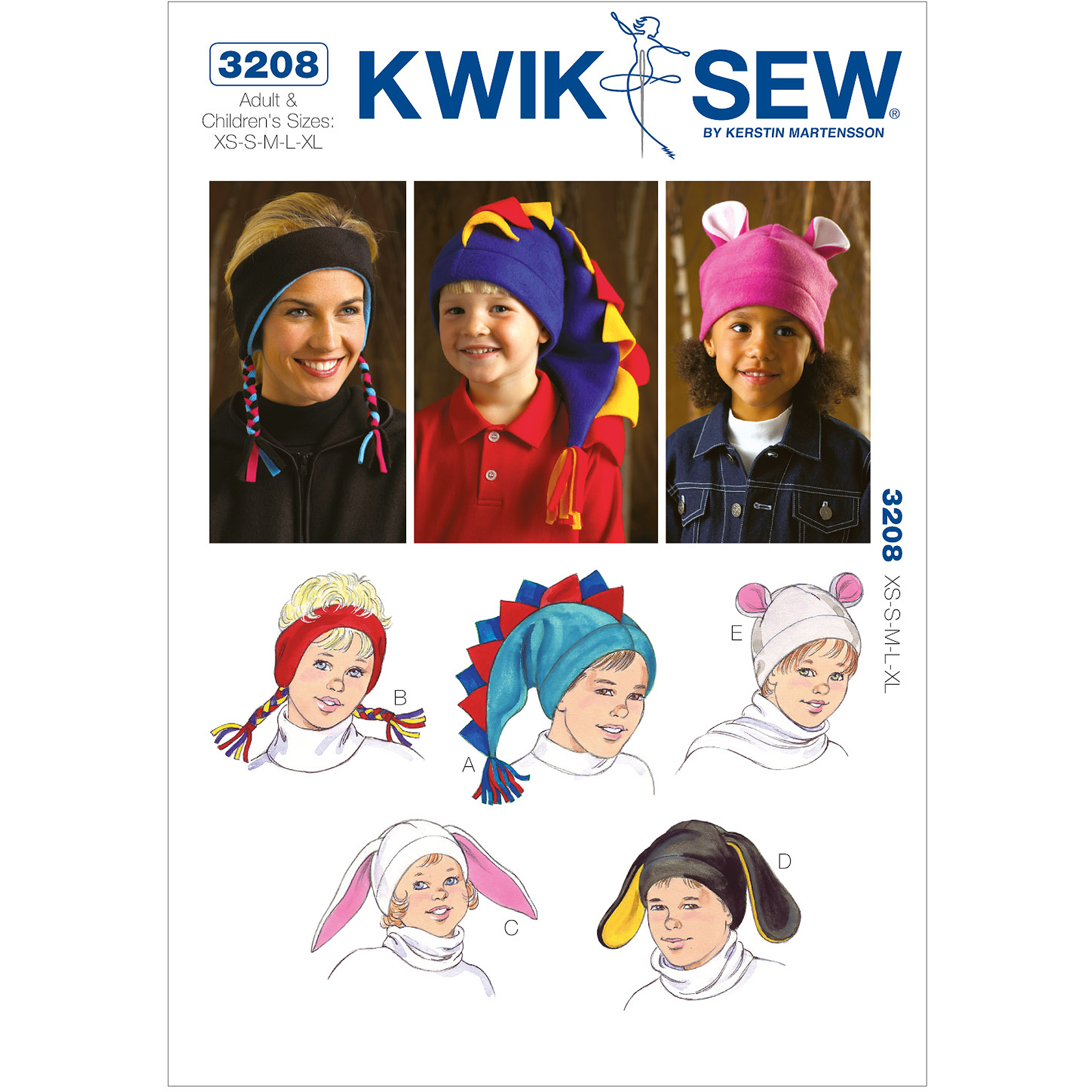 Kwik Sew Pattern Hats, Adult and Children's (XS, S, M, L, XL)