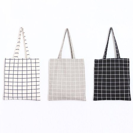 Fresh Simple Cotton Linen Plaid Canvas Bag With Zipper Tote Bag Shopping Bag - image 6 of 8