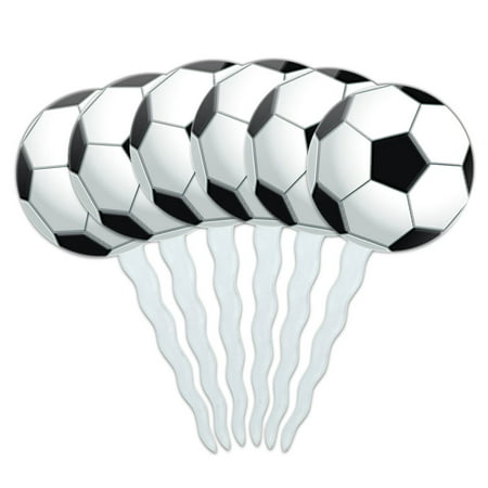 Soccer Ball Football Cupcake Picks Toppers - Set of 6 - Soccer Cupcake Toppers