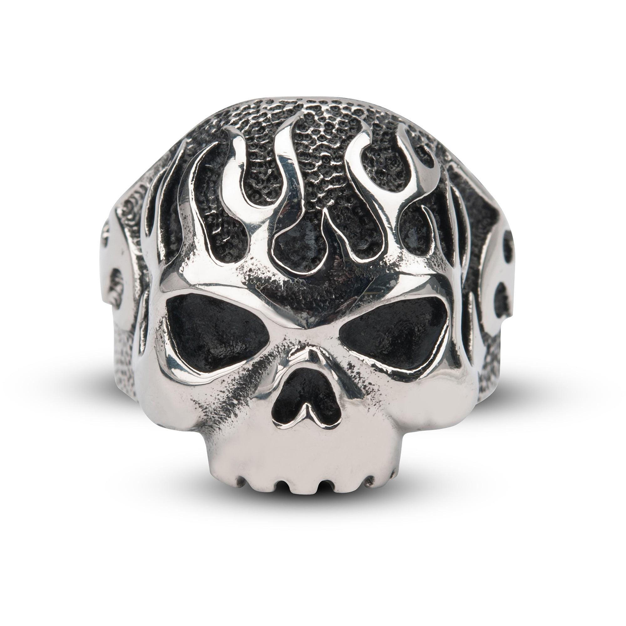 Steel Art Men's Sovereign Steel Black Oxidized Flamed Skull Ring