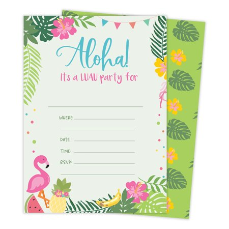 Luau 1 Hawaiian Happy Birthday Invitations Invite Cards (25 Count) With Envelopes & Seal Stickers Vinyl Girls Boys Kids Party - Luau Invitation Ideas