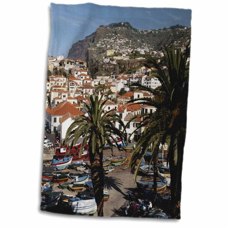 3dRose Portugal, Madeira, Camara de Lobos, Fishing boats in harbor and city. - Towel, 15 by 22-inch