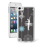 For Apple iPod Touch 5th / 6th Generation Hard Back Case Cover Ballerina Snowflakes Pattern (White)