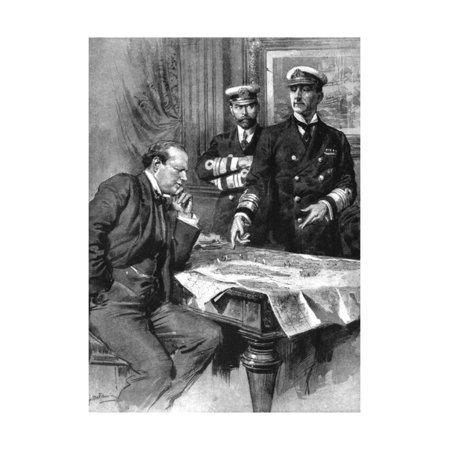 Winston Churchill, Charles Madden and Sir John Jellicoe, First World War, 1914 Print Wall Art