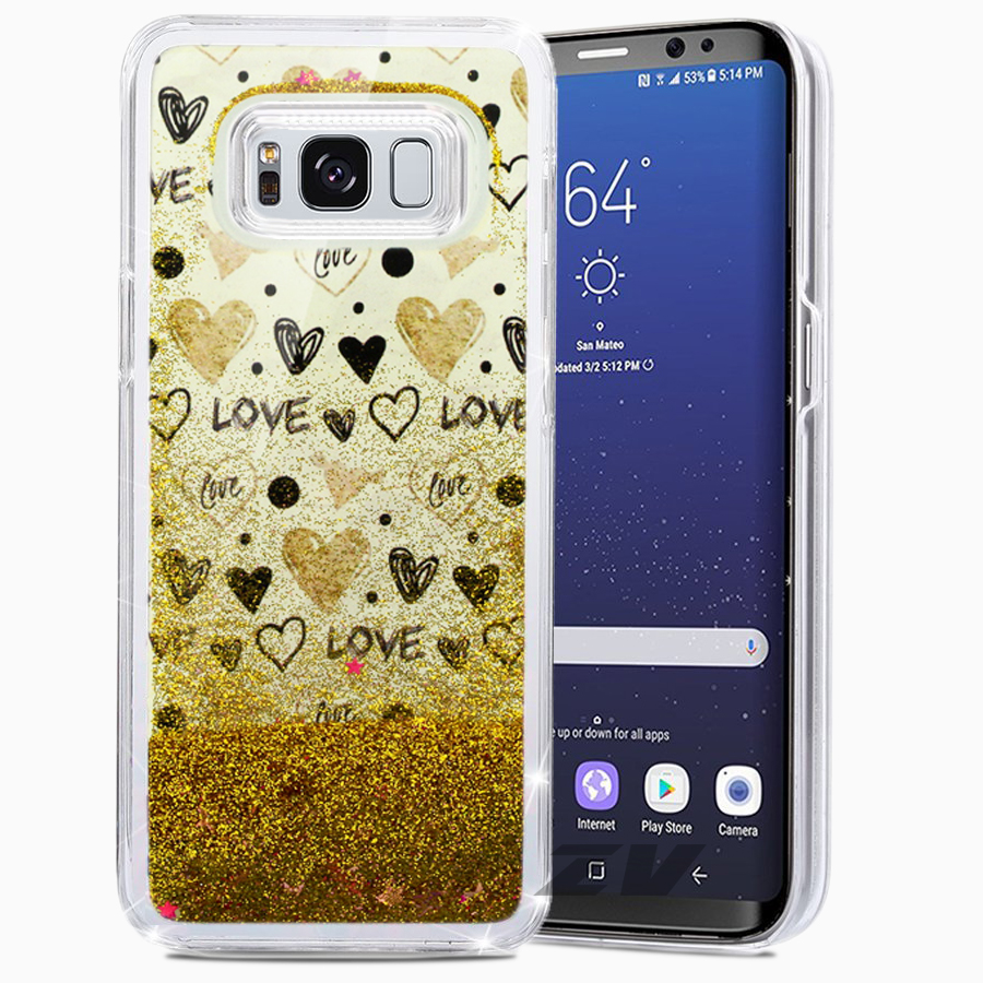 Samsung Galaxy S8 / S8 Plus Case, ZV Glitter Star Design w/ Free Flowing Glitter