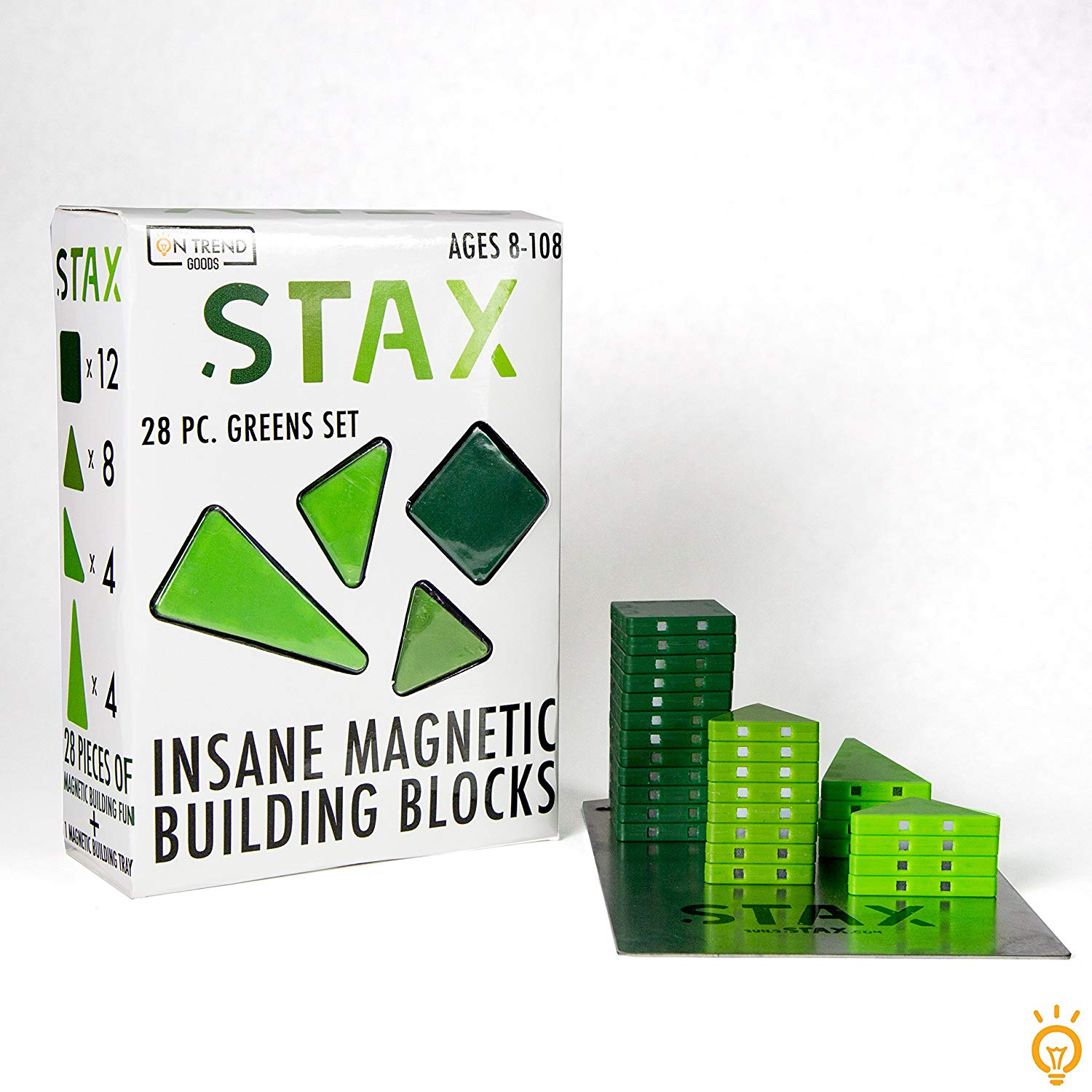 STAX 28pc Insane Magnetic Building Block Set (Greens) by On Trend Goods